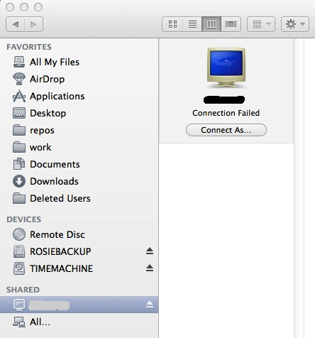 Screenshot of volume mounted in the finder