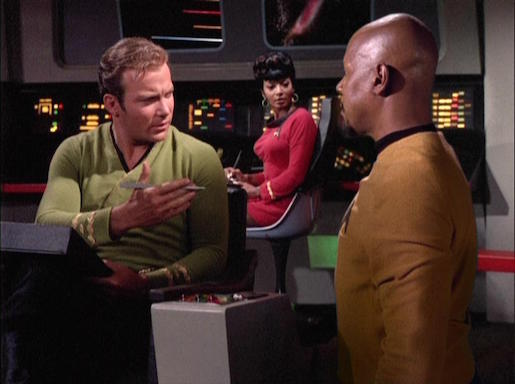 Kirk, Sisko, and Uhura in everybody's favorite DS9 episode, Trials and Tribble-ations