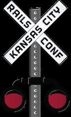 "Railsconf logo: a railroad crossing sign which says ""Rails Conf Kansas City"""