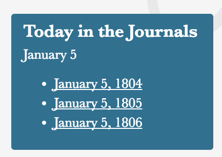 Mockup of feature, with links to January 5 1804, 1805, and 1806