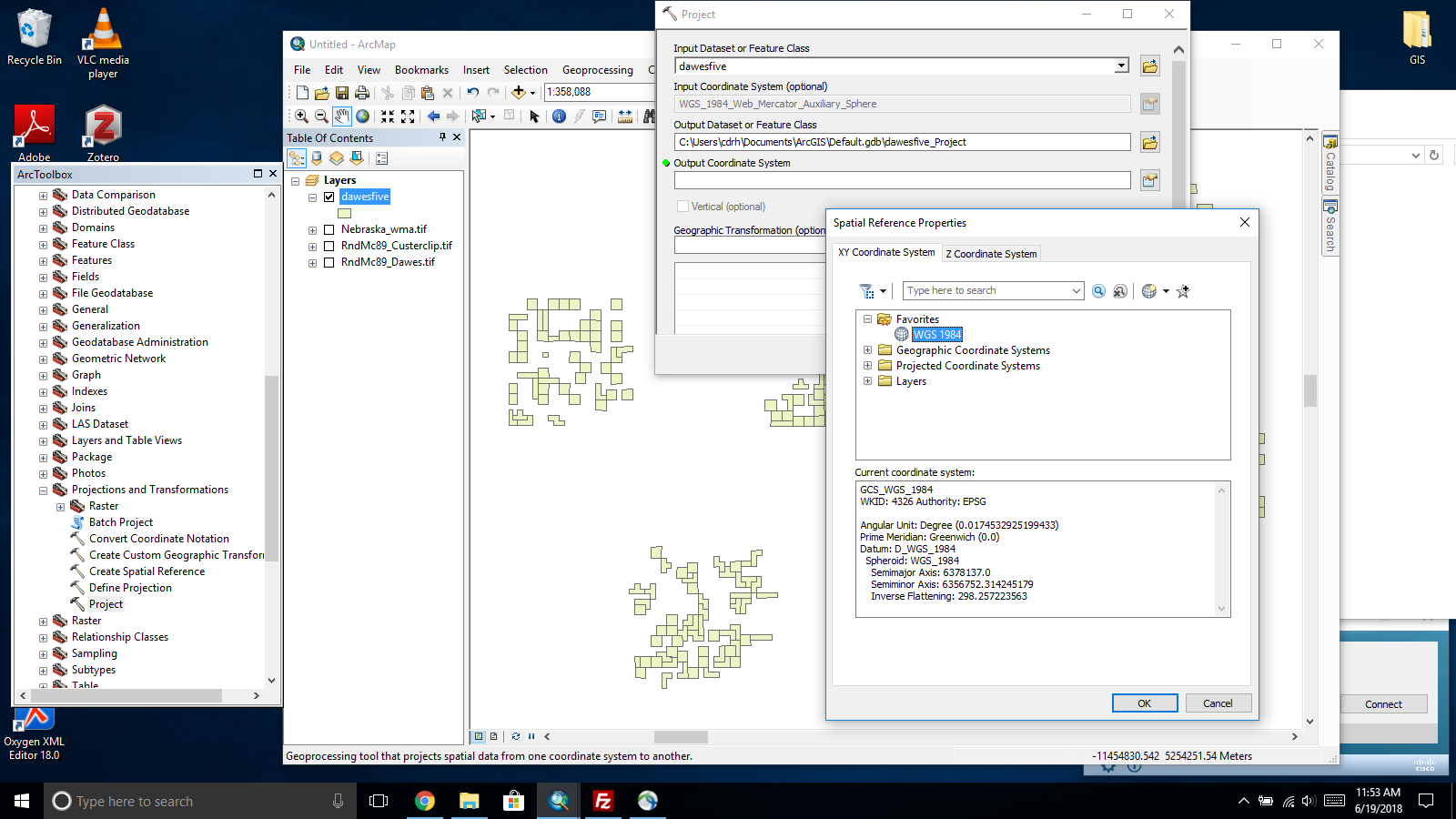arcmap selecting coordinate system WGS 1984